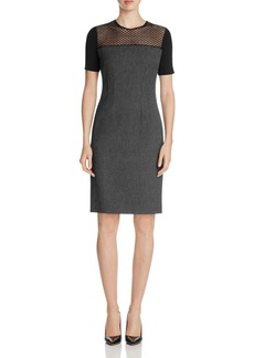 Elie Tahari Josephine Mixed Media Sheath Dress
