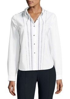 Elie Tahari Joyce Embroidered Button-Front Blouse