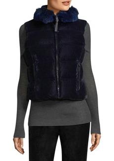 Judy Velvet Fox Fur-Trim Puffer Vest