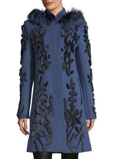 Elie Tahari Julia Fur-Trim Appliqué Wool Coat