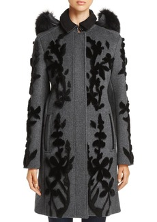 Elie Tahari Julia Wool Appliqu� Coat