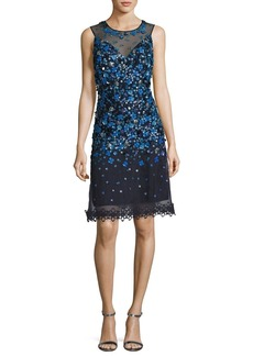 Elie Tahari Justina Sleeveless Sequined Mesh Cocktail Dress