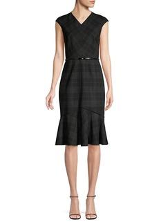Elie Tahari Kaitlyn Plaid Flounce Sheath Dress