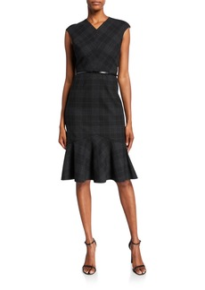 Elie Tahari Kaitlyn Plaid V-Neck Sleeveless Dress
