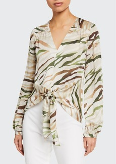 Elie Tahari Kali Tie-Front Long-Sleeve Silk Shirt