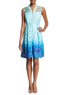 Elie Tahari Kalli Sleeveless Zip-Front Ombre Lace Dress