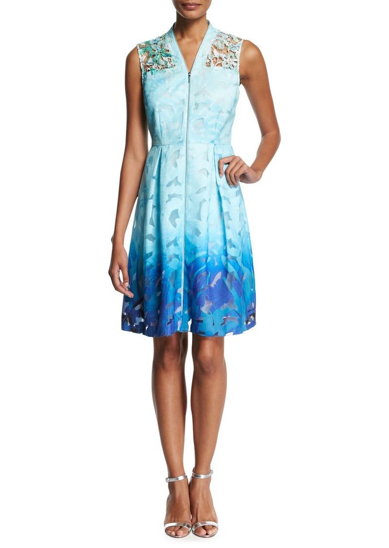 Elie Tahari Kalli Sleeveless Zip-Front Ombre Lace Dress