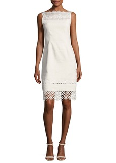 Elie Tahari Kallista Sleeveless Lace-Trim Sheath Dress