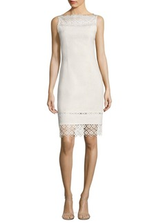 Elie Tahari Kallista Striped Lace-Trim Sheath Dress