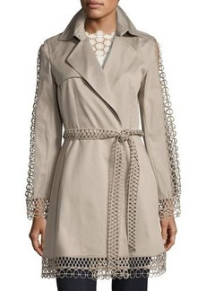Elie Tahari Kathy Lace-Trimmed Trench Coat