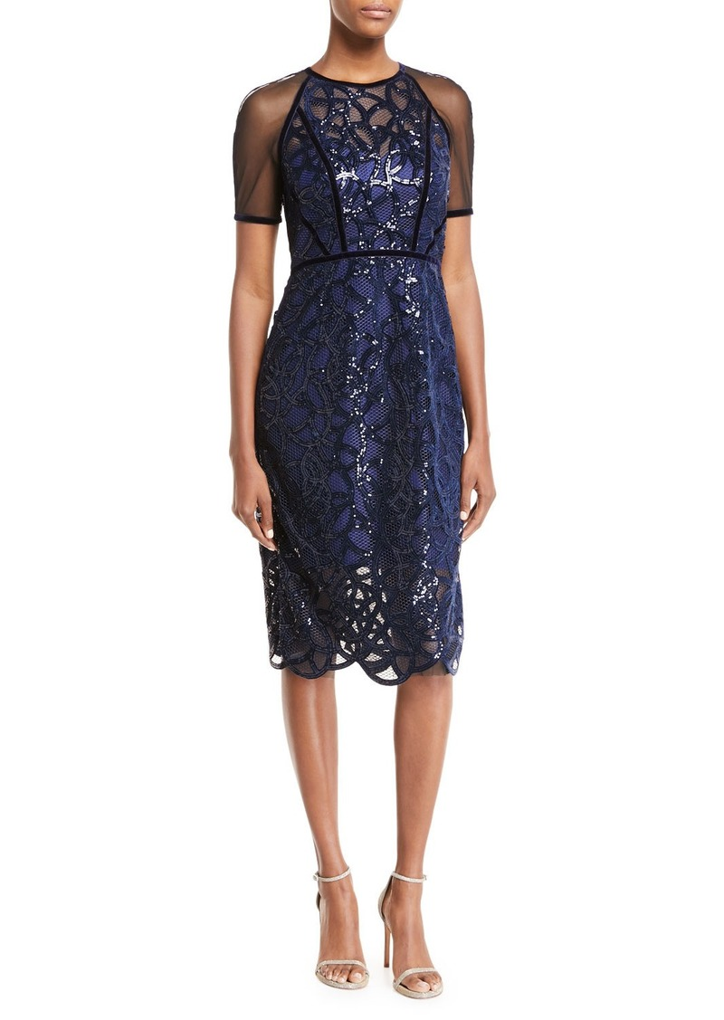 Elie Tahari Katia Embellished Sheer Sheath Dress