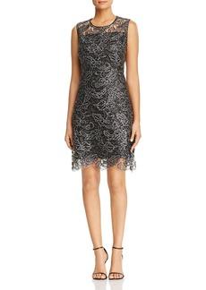 Elie Tahari Katrionne Metallic Lace Sequin Sheath Dress