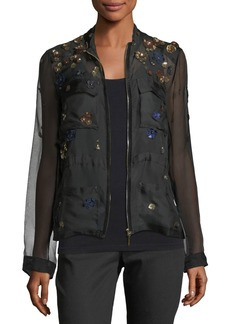 Elie Tahari Katya Floral-Applique Silk Jacket