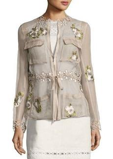 Elie Tahari Katya Floral-Applique Silk Jacket