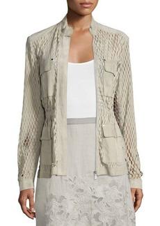Elie Tahari Katya Perforated-Suede Safari Jacket