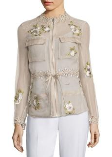 Elie Tahari Katya Silk Cargo Organza Jacket