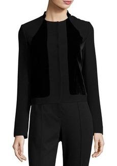 Elie Tahari Kemper Velvet-Combo Cropped Jacket
