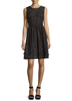 Elie Tahari Kia Sleeveless Organdy Dress w/ Floral Appliqué