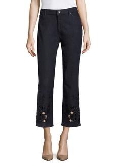 Elie Tahari Kiana Embellished Cropped Jeans