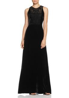 Elie Tahari Kim Beaded Velvet Gown