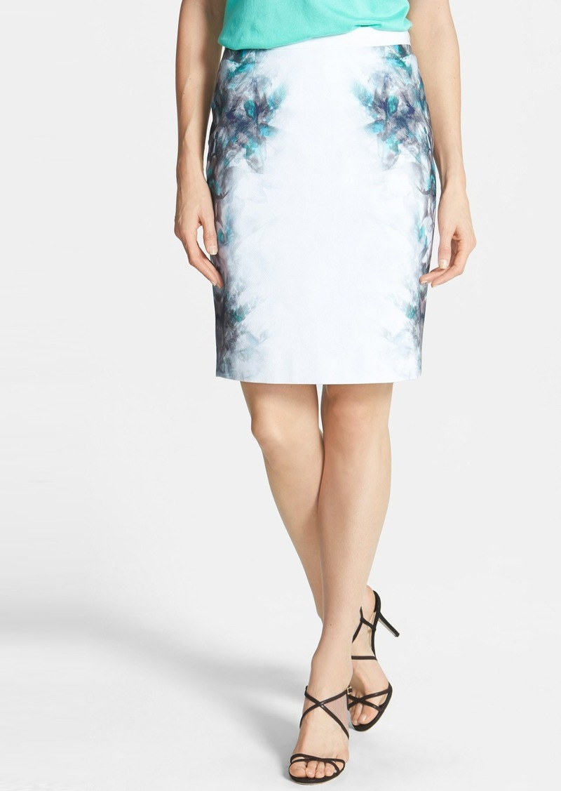 Elie Tahari 'Kim' Print Stretch Cotton Skirt