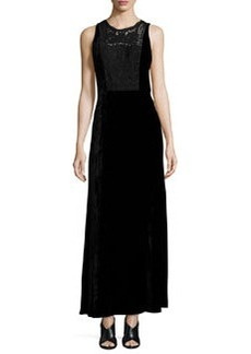 Elie Tahari Kim Sleeveless Lace-Yoke Velvet Maxi Dress
