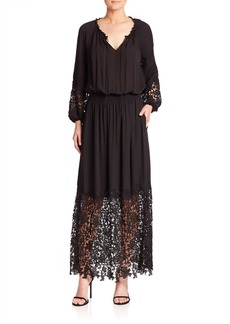 Elie Tahari Kimmie Silk & Lace Maxi Dress