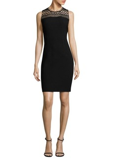 Elie Tahari Kingsly Crochet-Yoke Sheath Dress
