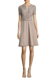 Elie Tahari Kinley Crochet & Poplin Dress