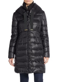 Elie Tahari Knit Collar Puffer Coat