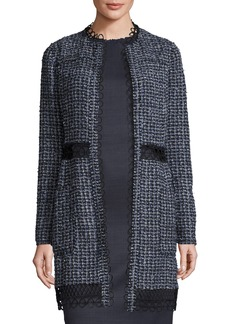 Elie Tahari Kora Long Tweed Hook-Front Jacket