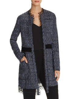 Elie Tahari Kora Tweed Open-Front Jacket