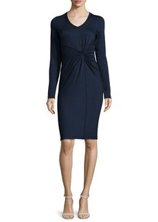 Elie Tahari Kyle Long-Sleeve Twist-Front Dress