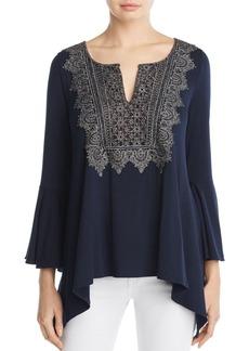Elie Tahari Lace Yoke Knit Blouse - 100% Exclusive