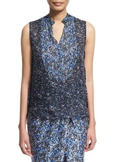Elie Tahari Lacey Sleeveless Floral-Print Blouse