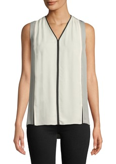 Elie Tahari Lacina V-Neck Sleeveless Colorblock Silk Blouse