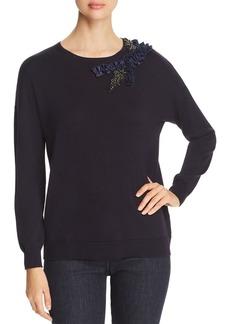 Elie Tahari Lael Embellished Merino Wool Sweater