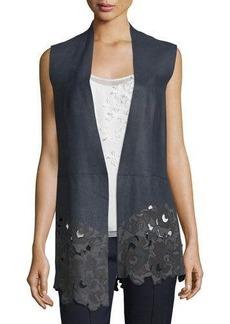 Elie Tahari Laila Open-Front Leather Vest