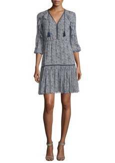 Elie Tahari Landon 3/4-Sleeve Printed Silk Dress