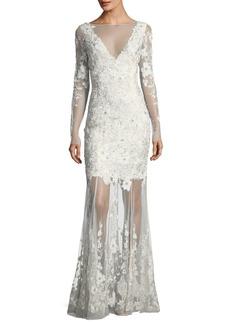 Elie Tahari Larsa Floral Lace Illusion V-Neck Dress