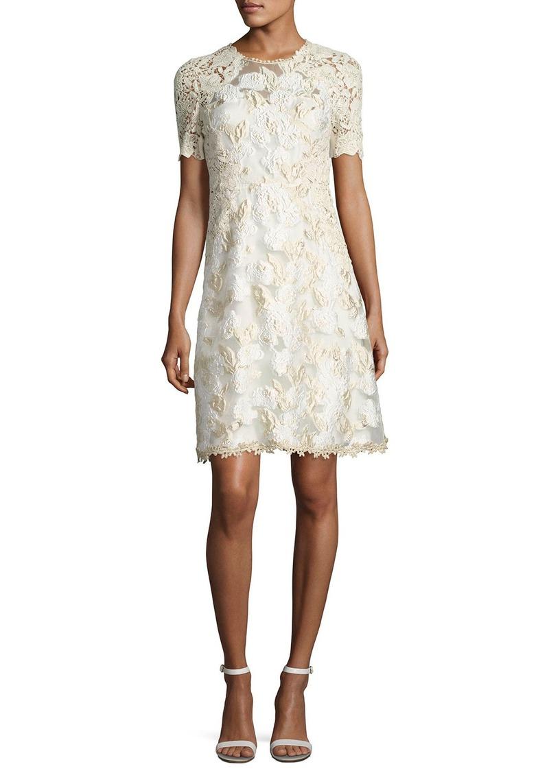 Elie Tahari Larsa Short-Sleeve Lace Dress
