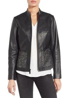Elie Tahari Laser Cut Leather Jacket