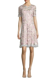 Elie Tahari Laura Floral Lace A-Line Dress