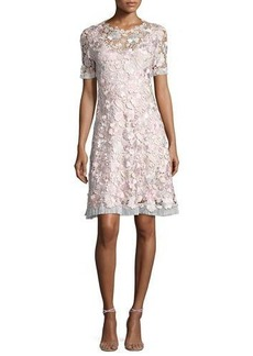 Elie Tahari Laura Short-Sleeve Lace Dress