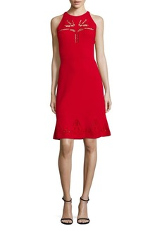 Elie Tahari Lauren Sleeveless Knit Perforated Dress