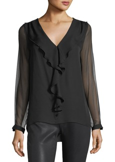 Elie Tahari Laurie Ruffled-Trim Silk Blouse