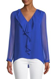 Elie Tahari Laurie V-Neck Cascade Ruffle Long-Sleeve Silk Chiffon Blouse
