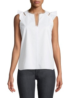 Elie Tahari Lavita Ruffled-Trim Sleeveless Blouse