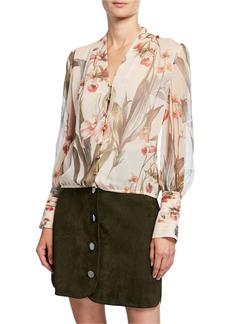 Elie Tahari Laya Floral Button-Front Blouson-Sleeve Silk Blouse