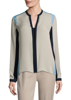 Elie Tahari Layne Colorblock Silk Blouse